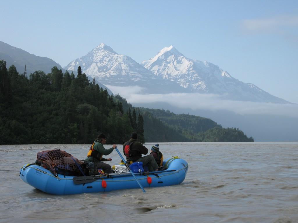 Rafting the Copper River and searching for invasives at campsites along the way