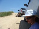 Sarah Brewster, and others try to find a sanctuary of shade near the trucks. This is nearly impossible at 12 noon, as can be seen here.