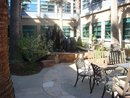 This is our lovely courtyard for eating lunch: complete with fountains!