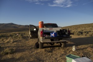 loaded truck for camping