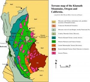 Part of the reason there's gold down in these here hills!  Map from: http://www.marlimillerphoto.com/Klamathmap.html