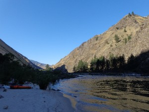 Camping on a beach of the Salmon River in Riggins, ID.