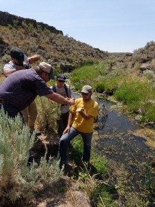 """Al Tarter teaching us """"youngins"""" about riparian health and potential functioning condition of streams."""