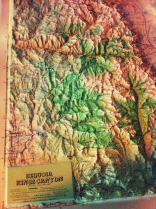 A raised relief map of my next home, Sequoia & Kings Canyon National Parks