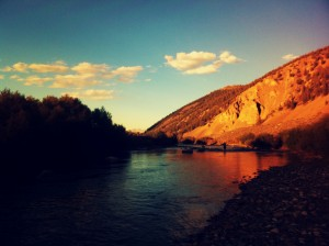 Fly fishing on the Big Lost River at dusk