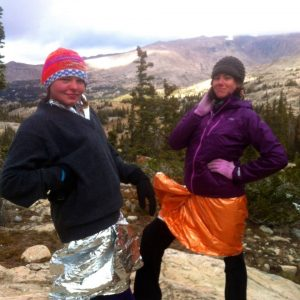 Heather and I sporting the newest style for frozen backpackers.