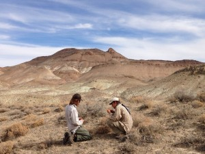 Two interns look at seed viability of Atriplex with a stunning view