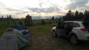 Our view of the Tetons from our campsite over the fourth of July weekend.