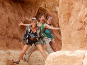 My CLM friends. Jinny (from Vernal), Jessie (from Escelante), and I (Cedar City) met up in Escelante and explored some of Utah's wonderful outdoors. Here we are posing in a hoo doo.