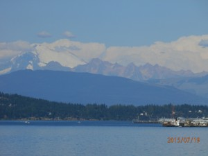View of Mt. Baker & the Picket range en route to the Islands