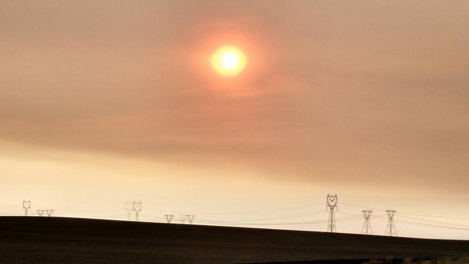 Condensed smoke from the Okanogan Complex and North Star Fires.