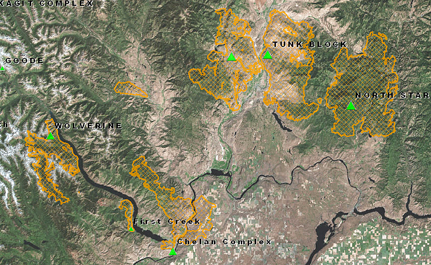 Fire Perimeter Map taken from www.geomac.gov This showed all of the major active fires in our region.