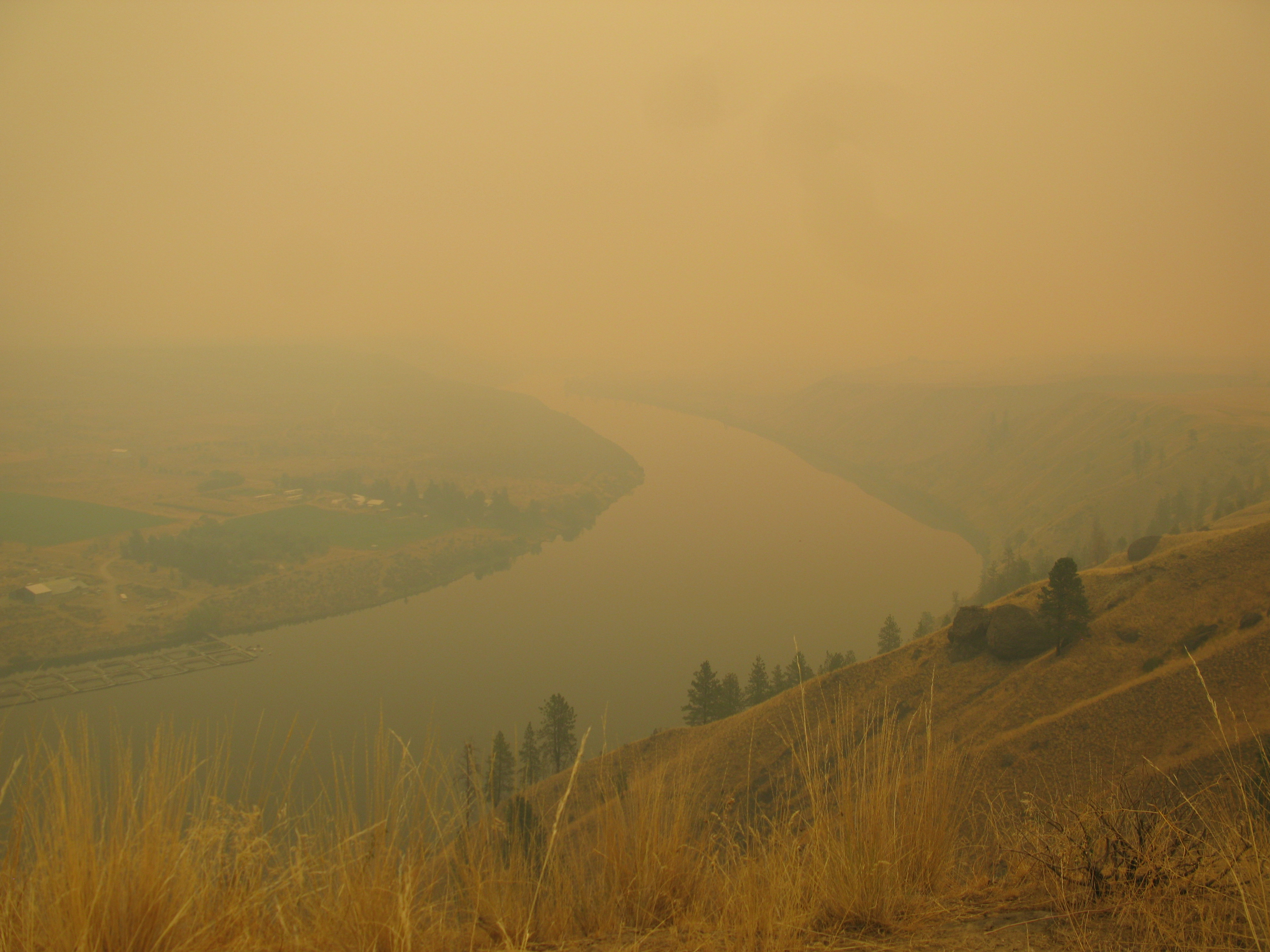The Columbia River under smokey conditions.