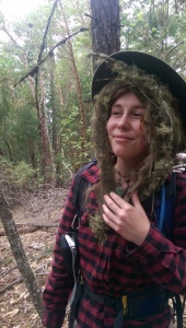 Kiki, our resident gagperson. Sometimes it just makes sense to put lichen under your hat like a wig.