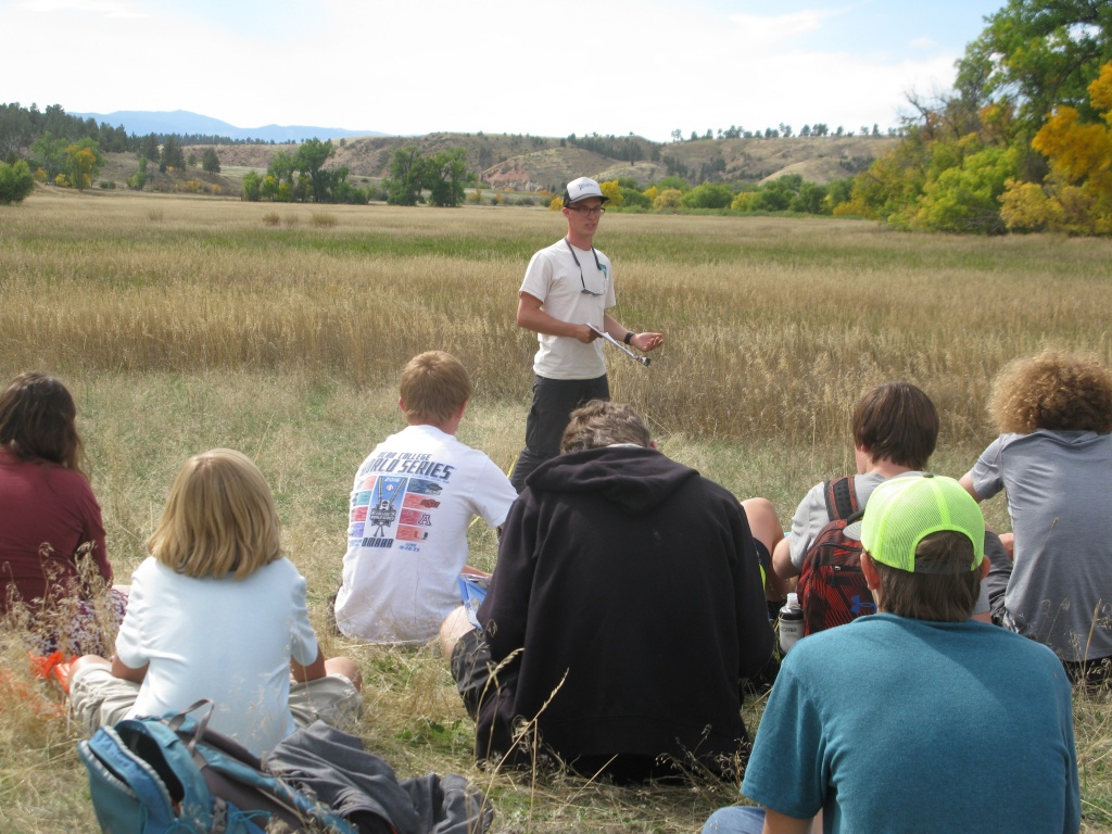 Damen giving a lecture about the importance of public lands to the students!